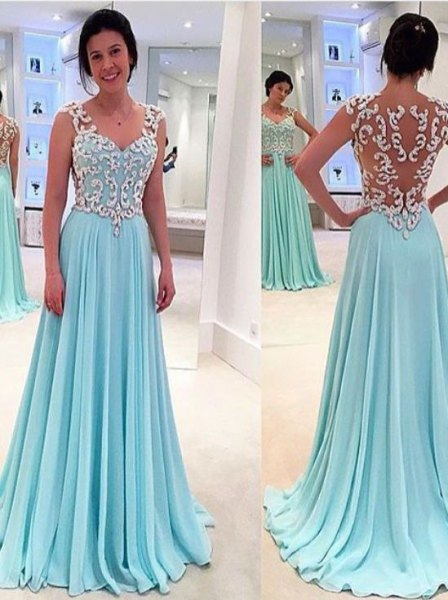 white and light blue floor-length dress made of semi-transparent chiffon