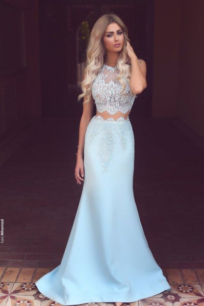 white and light blue two piece mermaid ball gown