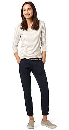 white and light gray striped long sleeve t-shirt with black joggers