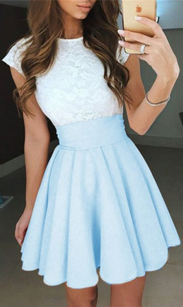 white and light sky blue two-tone short dress