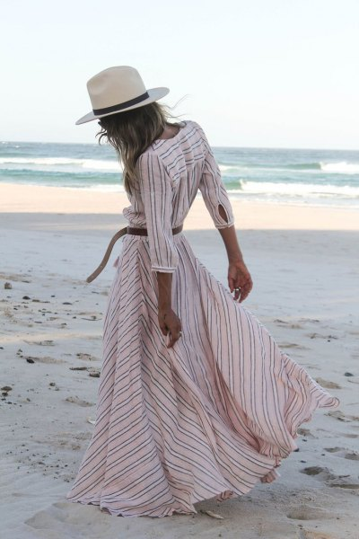white and light pink striped frilly summer dress