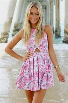 white and pink mini skater dress with a flower pattern on the front