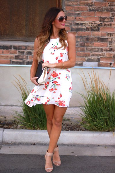 white and pink floral swing mini summer dress