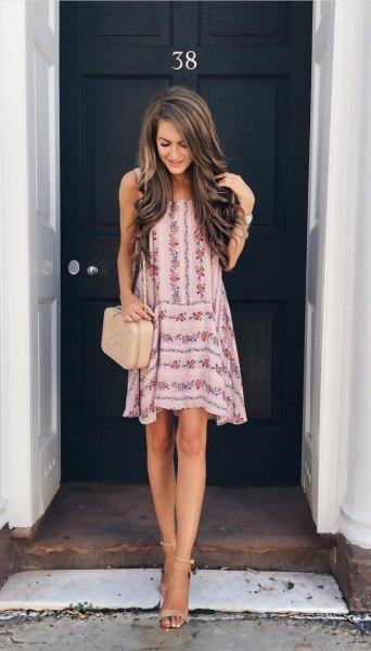 white and pink mini swing summer dress