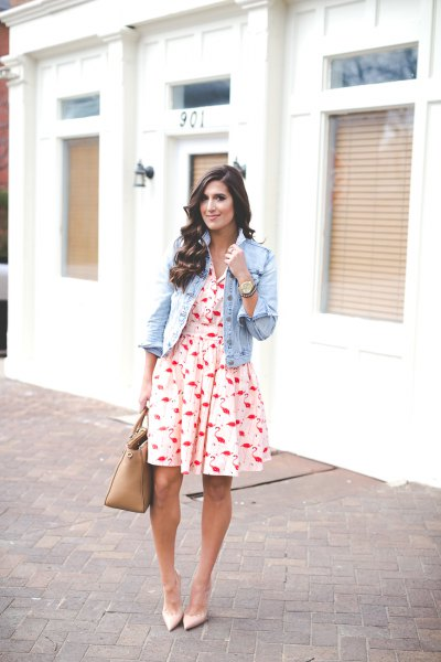 white and red cut and flared mini dress with light blue denim jacket