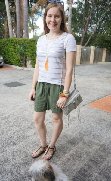 white and silver horizontal striped t-shirt khaki embroidered shorts