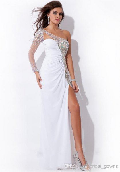 white and silver sequined shoulder-high maxi dress