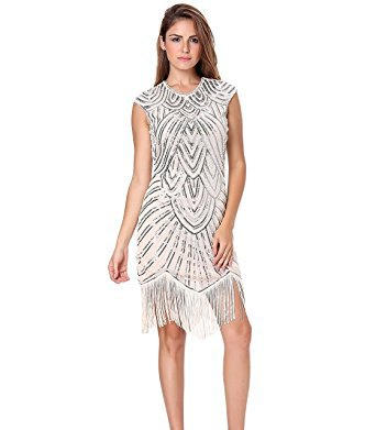 sleeveless mini dress made of sequins in white and silver