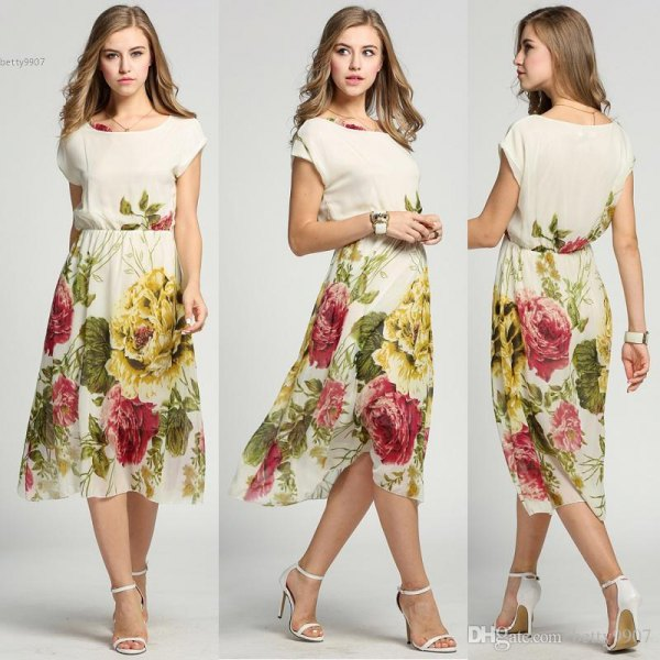 white and yellow hawaiian style chiffon midi dress with floral print