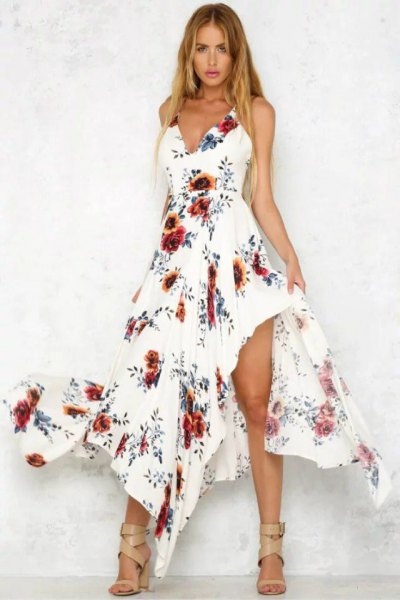 white asymmetrical floral long dress