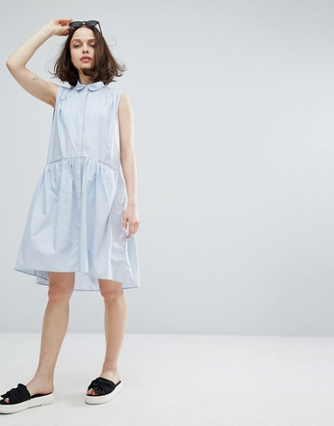 white sleeveless shirt dress with round collar and babydoll