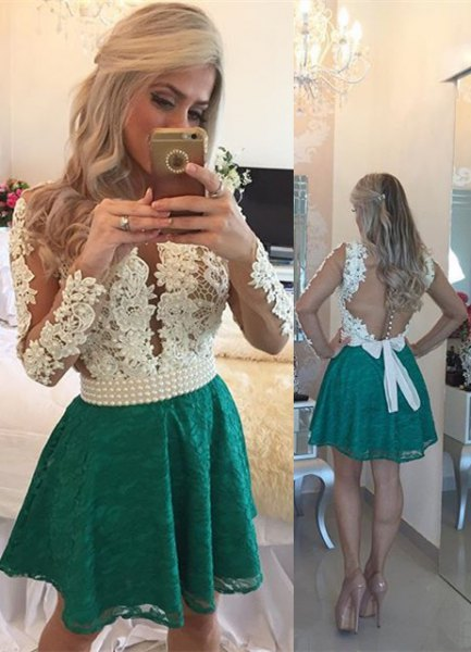white backless lace top with gray minirater skirt
