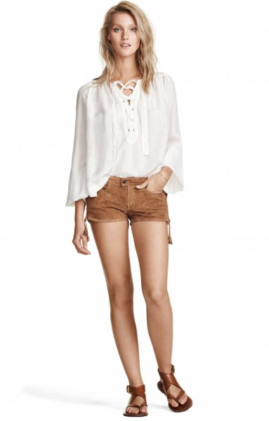white bat blouse mini suede shorts