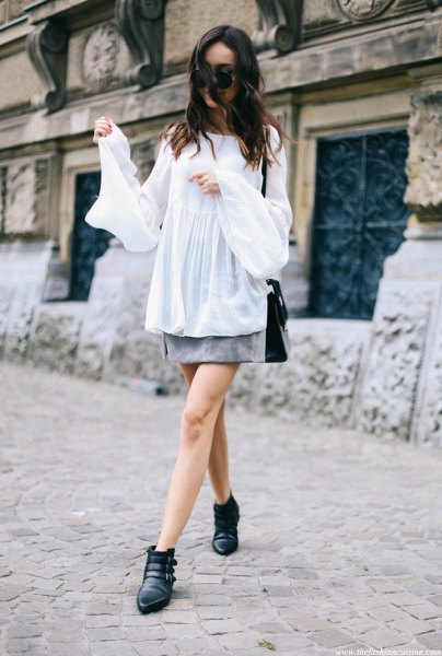 white suede skirt with bell sleeves