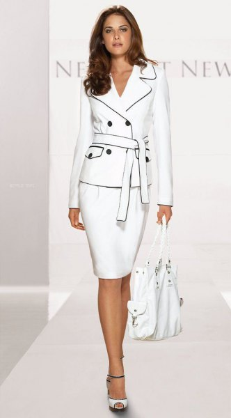 white blazer with belt, matching pencil skirt and open toe heels