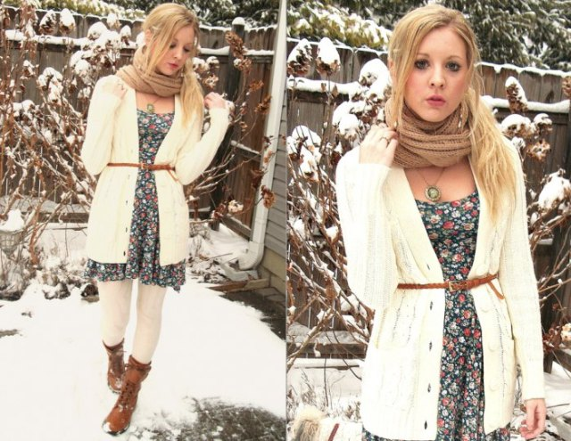 white knitted cardigan dress with belt