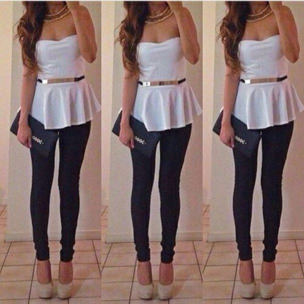 Strapless, elegant peplum top with white belt and black jeans