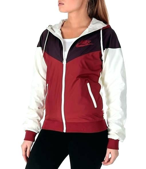 white black and red windbreaker with skinny jeans