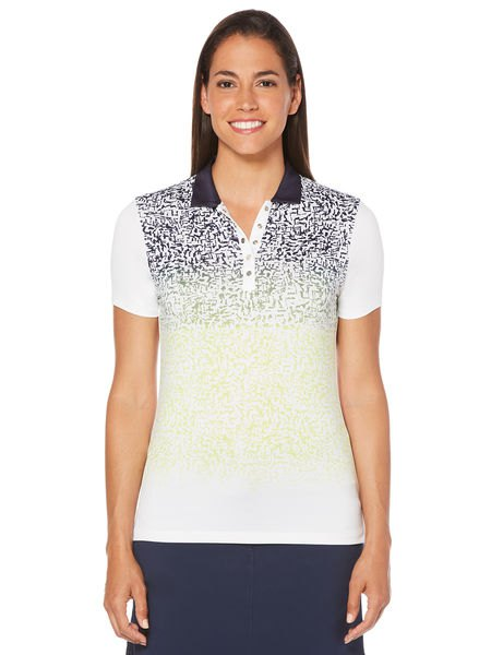 white black and yellow multicolored polo shirt with black mini skirt