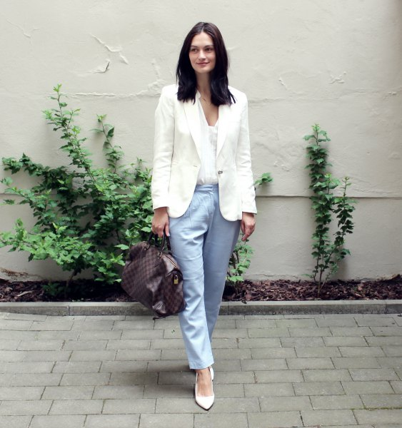 white blazer and blouse with V-neck