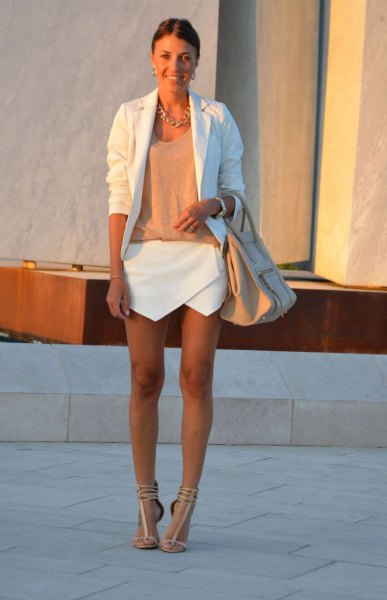 white blazer green top skort