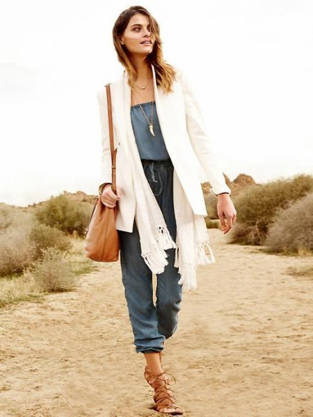 white blazer knitted scarf chambray jumpsuit