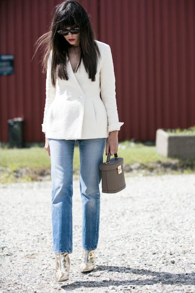 white blazer mom jeans gold ankle boots