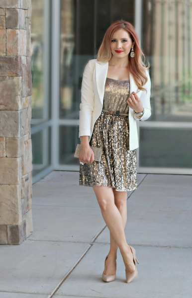 white blazer light pink heels outfit