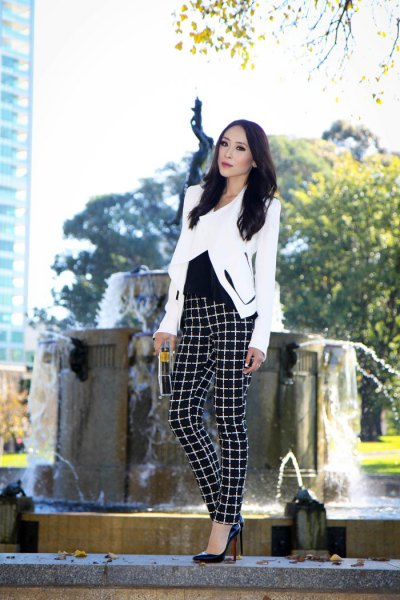 white blazer with black plaid flannel trousers