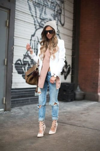 white blazer with gray side slit sweater and boyfriend jeans