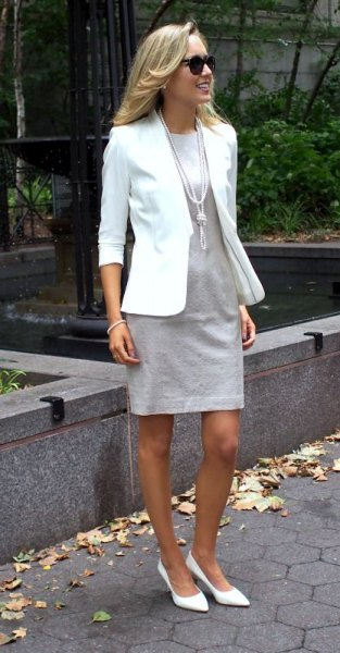 white blazer with light gray mini dress