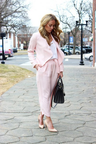 white blazer with matching, cropped pants with wide legs