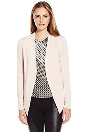 white blazer with a printed V-neck top and leather pants