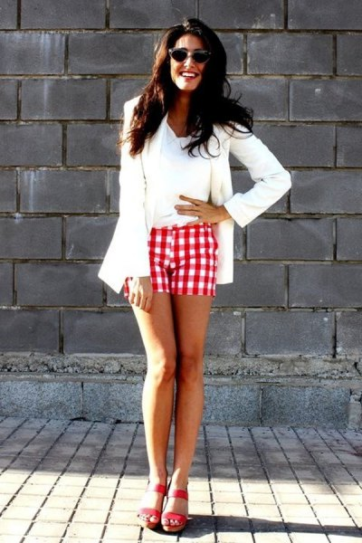 white blazer with red checked shorts