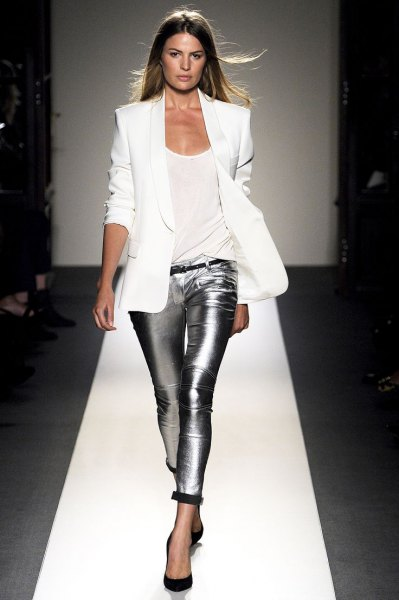 white blazer with silver, metallic tube trousers