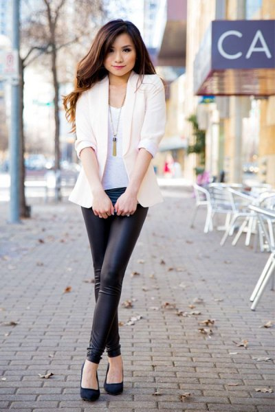 white blazer with tank top and leather tights