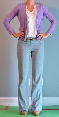 white blouse and gray linen pants with wide legs