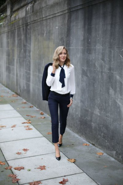 Navy suit with white blouse