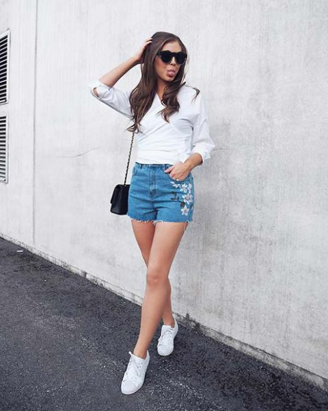 white blouse with light blue, flower-embroidered, cute denim shorts