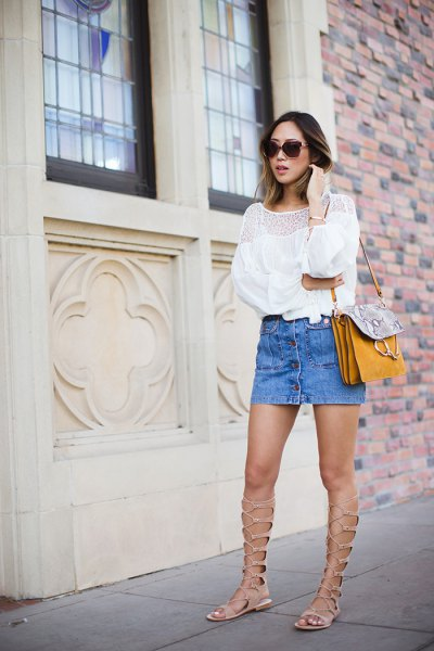white blouse with light blue mini skirt and gladiator sandals