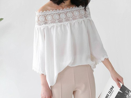 white blouse with boat neckline and light pink pants