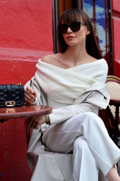 white wrap sweater with boat neckline