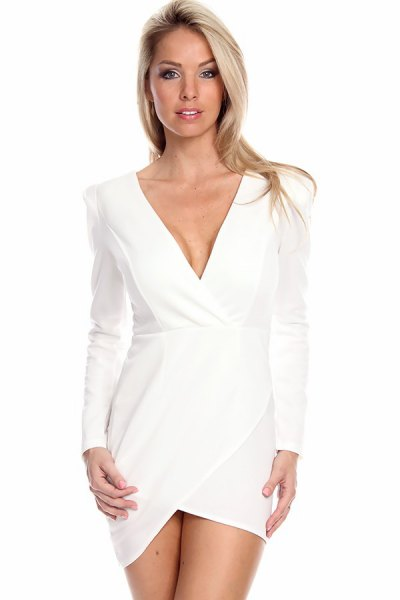 white figure-hugging wrap dress with V-neck