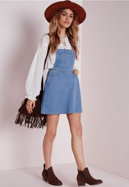 white boho blouse denim dress