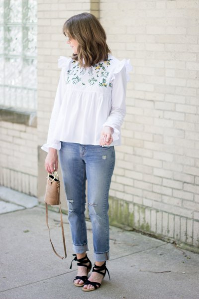 white embroidered blouse in boho style