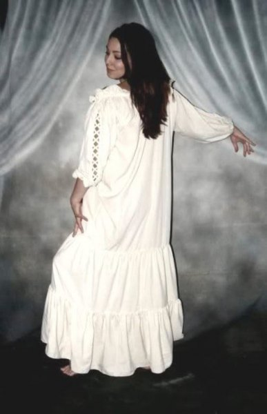 white maxi dress in boho style with a loose fit