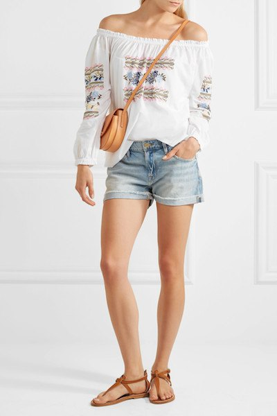 white boho style off the shoulder embroidered blouse