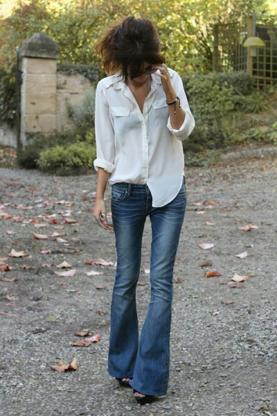white boyfriend shirt with blue, low-waisted jeans