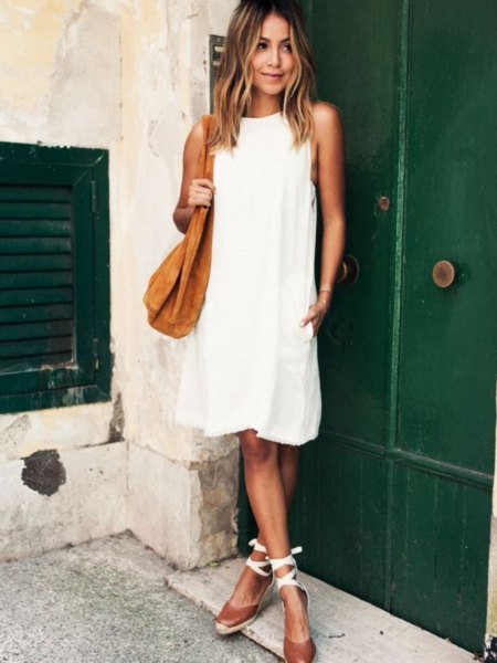 white airy dress strappy sandals
