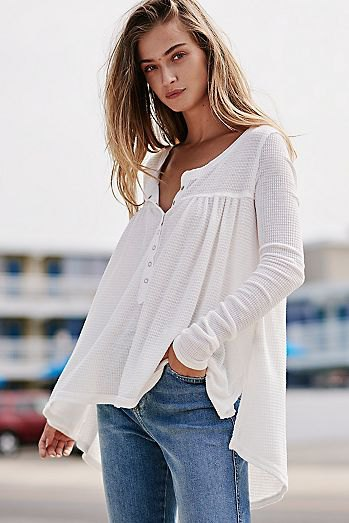 white airy henley shirt jeans